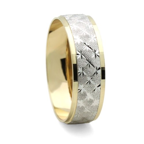 14K Two Tone Gold Yellow & White Gold 6mm Light Ring Wedding Band (Size 5 to 13), 9