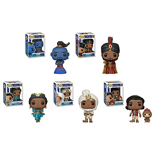Funko Pop!: Aladdin Live Bundle of 5: Aladdin with Abu, Prince Ali, Jasmine, Jafar and Genie
