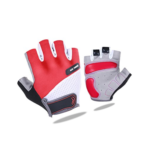 Youth Teen Top Specialized Cross-Country Race Running Mtb Dirt Bike Power Lifting Sunny Fishing Hiking Climbing Performance Cycling Dumbbell Training Bicycling Half Finger Glove (Red, L)
