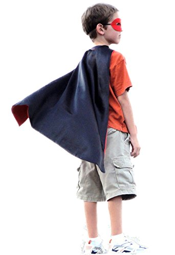 Abracadabrazoo Super Hero Superhero Satin Reversible Cape Red Black (Spiderman Reversible Costume)