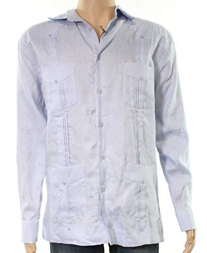Guayabera Pleated (Tasso Elba Mens Large Pleated Linen Guayabera Shirt Blue L)
