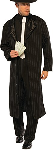 Mobster Suit Costume (Men's 20s Underground Mobster Boss Black Pinstripe Suit Costume Large 42-46)