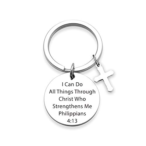 TOGON Christian Keychain I Can Do All Things Through Christ Who Strengthens Me Religious Keychain Scripture Jewelry Inspirational Gift for Her (Do All Things KR)