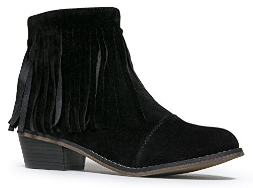 Breckelles Women Suede Fringe Cap Toe Ankle Booties, Black - 18 - 8 B(M) US (Fringe Ankle Boot)