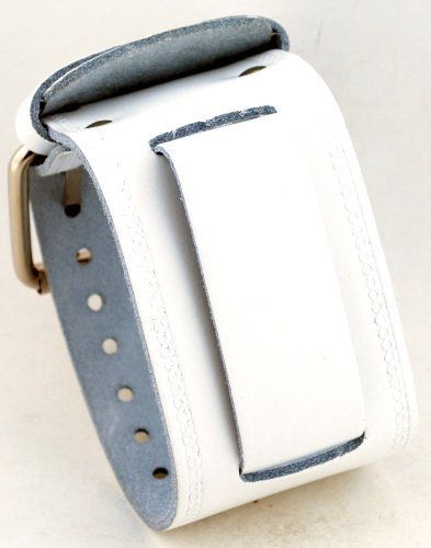 White Leather Cuff Watch - Nemesis #IN-W Wide White Leather Cuff Wrist Watch Band