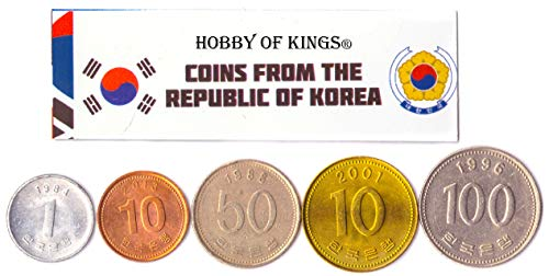 Hobby of Kings Different Coins - Old, Collectible South Korean Foreign Currency for Collecting Book - Unique, Commemorative World Money Sets - Gifts for Collectors - Collection of 5