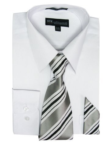 Pointed Collar Shirt (Milano Moda Men's Long Sleeve Dress Shirt With Matching Tie And Handkie SG21A-White-16-16 1/2-34-35)