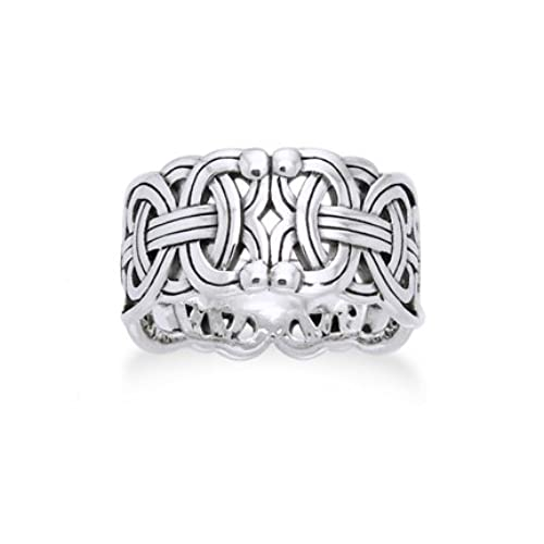 viking braided wedding band borre knot norse celtic 10mm sterling silver ring size 8sizes 456789101112131415 - Viking Wedding Rings