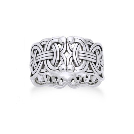 Wide Ring Band Braided Wedding - Viking Braided Wedding Band Borre Knot Norse Celtic 10mm Sterling Silver Ring Size 8(Sizes 4,5,6,7,8,9,10,11,12,13,14,15)