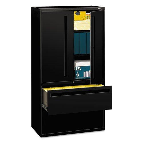 - HON 700 Series Lateral File With Storage Case - 36amp;quot; x 19.25amp;quot; x 67amp;quot; - Steel - 2 x Shelf(ves) - 5 Drawer(s) - Legal, Letter - Black