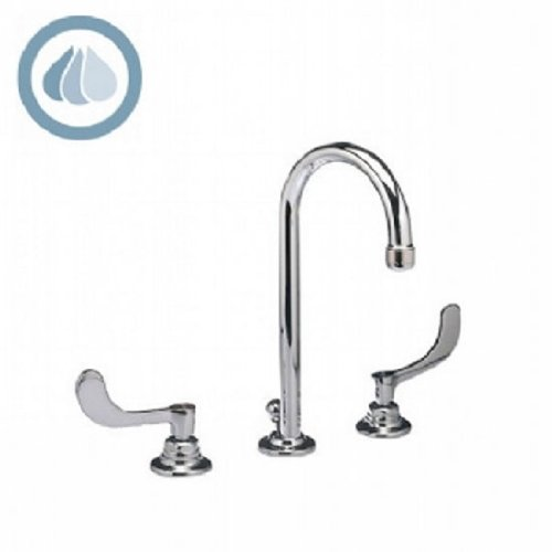 American Standard 6531.140.002 Monterrey 8-Inch Commercial Faucet with Gooseneck Spout, VR Metal Lever Handles and Pop-Up Drain, Polished Chrome