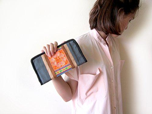 Embroidered Kham Wieng Women's Hand Purse Style Fabric Vintage Khum Hemp Gray Wallet Tribal qP1dwq5