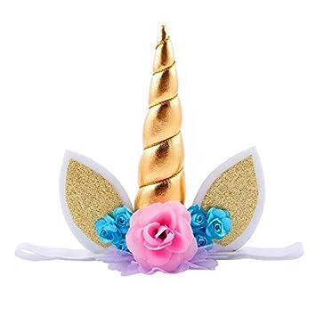 Diadema de unicornio con purpurina dorada, para cumpleaños ...