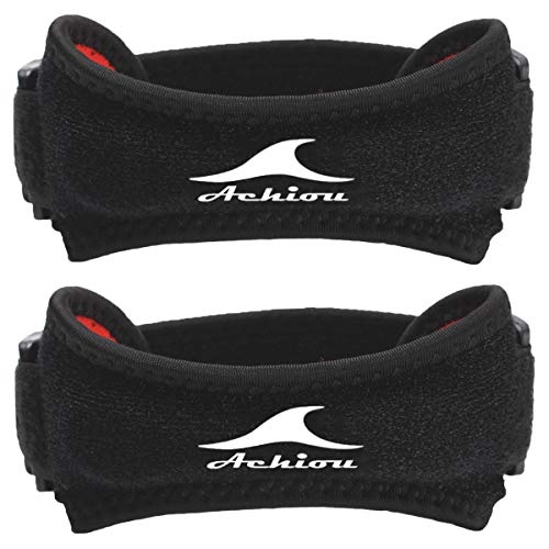 Achiou 2 Pack Patella Knee Strap Silicone Support Adjustable Band for Protect Patellar Pain Relief Tendon for Tendonitism Gym Running Hiking Weightlifting Basketball Volleyball