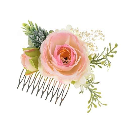 Vividsun Bridal Flower Comb Greenery Hair Comb Wedding Floral Headpiece (Pink)