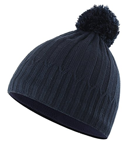 (Home Prefer Toddler Boys Winter Hat with Fleece Warm Knit Skull Beanie with Pom Navy Blue)