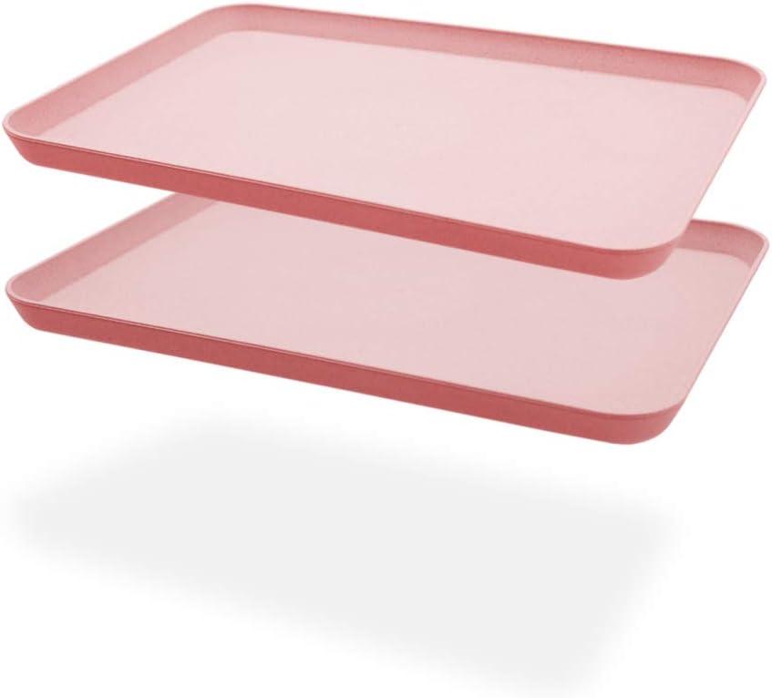 2Pcs Unbreakable Serving Tray Decorative Tray Wheat Straw, Great for Dinner Tray Tea Tray Bed Tray Bar Tray Breakfast Tray Food Tray (Pink)