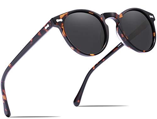 Carfia Vintage Polarized Sunglasses for Men, 100% UV400 Protection Acetate Frame (Tortoise Frame Grey Lens, Multicoloured)