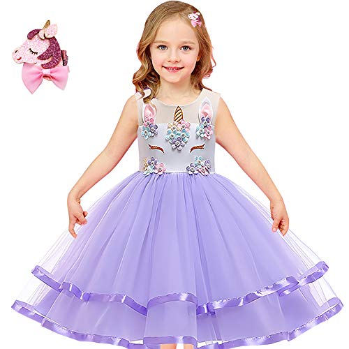 (Girls Unicorn Costume Outfit Pageant Princess Party Dress (Purple, 8-9)