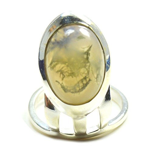 Gemsonclick Natural Yellow Mosss Agate Ring Sterling Silver Fashion Look Handcrafted Ring Sizes 4 to 13