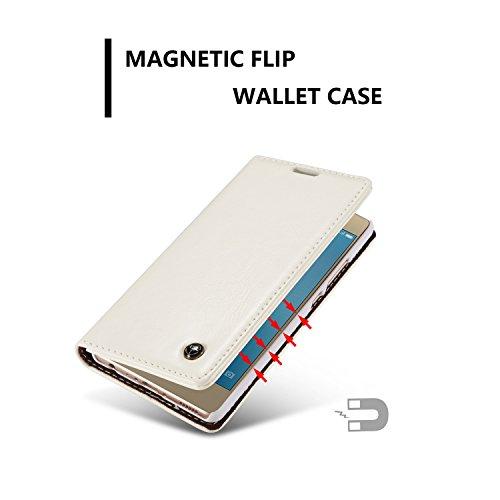 GR Para Huawei P9 Lite PU Cartera de cuero Diseño magnético Lujo Negocio Estilo Color sólido Premium Flip Folio Funda protectora con Ranura para tarjeta / Soporte ( Color : Red ) White