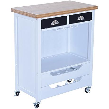 HomCom 34 Rolling Kitchen Trolley Serving Cart W Wine Rack Stemware Storage
