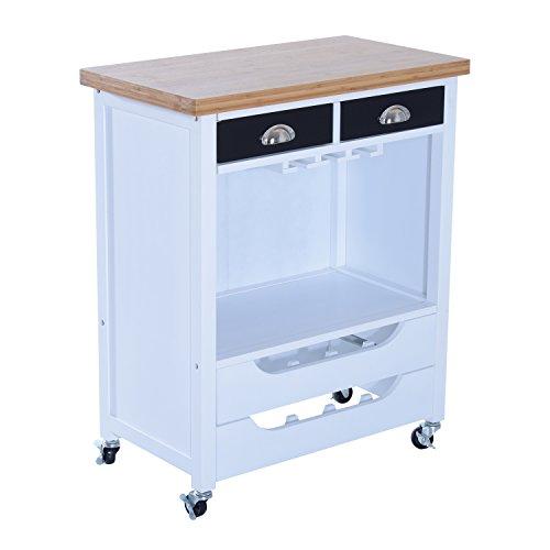 "HomCom 34"" Rolling Kitchen Trolley Serving Cart w/ Wine Rack & Stemware Storage Review"