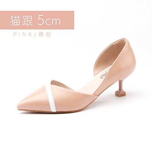 Jqdyl Tacones Nuevos Zapatos de Tacón Alto Femeninos Finos con Zapatos únicos Acentuados Zapatos de Boda Zapatos Powder 5cm