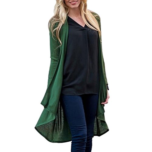 FEITONG Womens Solid Shawl Irregular Hem Kimono Cardigan Top Cover up Blouse Beachwear(3XL,Green) by FEITONG