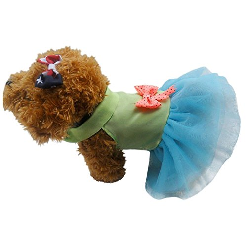 HP95(TM) Pet Small Dog Cat Bow Polka Dot Dress, Lace Skirt, Dog Clothes Costume (M, -