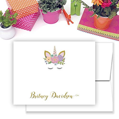 Personalized Kids Unicorn Note Cards Stationery with envelopes-Set of 12 flat or folded cards