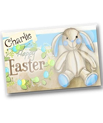 Kids PLACEMAT Easter Bunny Children's Personalized Wipe-able Place Mat Laminated Kids Placemat PLM002