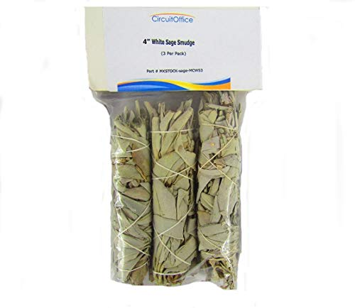 CircuitOffice California White Sage Wands, 4-Inch Smudge Sticks, Pack of 3, for Purification and Cleansing Rituals