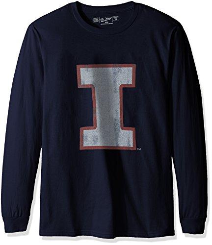 (Original Retro Brand NCAA Illinois Illini Men's Long Sleeve Tee, XX-Large, Navy)