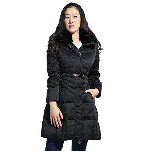 NAVA Premium Women's Mid-length Down Filled Fur Trimmed Collar Hooded Coat Large Black