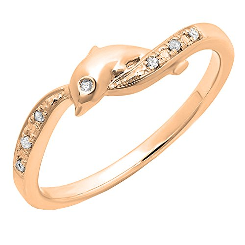 (Dazzlingrock Collection 0.05 Carat (ctw) 18K Round Cut Diamond Ladies Right Hand Dolphin Ring, Rose Gold, Size)
