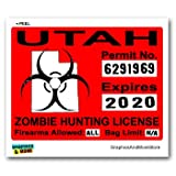 Utah UT Zombie Hunting License Permit Red - Biohazard Response Team - Window Bumper Locker Sticker