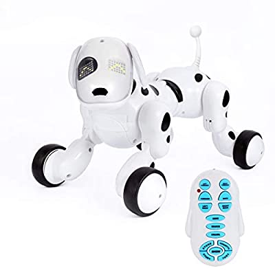 Kids Robot - IR Smart Remote Control Robot Dog, Funny Electronic Interactive Puppy Robots for Kids, Nice Educational RC Robots Dog Toys in Door, Black/White (White/Black)