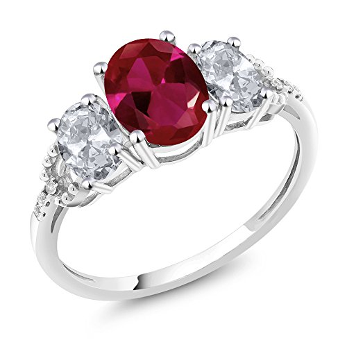 Gem Stone King 10K White Gold Diamond Accent 3-Stone Engagement Ring set with 2.20 Ct Oval Red Created Ruby White Topaz (Size 7)