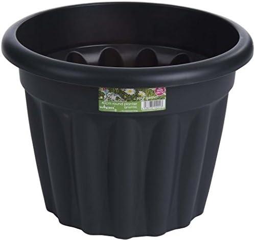Grandes 50 cm Wham maceta redonda de plástico Jardín Flor Planta Hierba Maceta diseño contemporáneo estilo – uso en interiores y al aire libre, gris: Amazon.es: Jardín