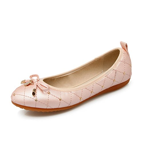 Round Female Ballet Bowknot Toe Revit Casual Slip Flats on Women Shoes Pink aI7f8n