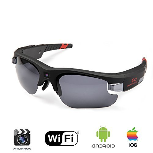 Wosports Video Spy Camera Sunglasses WiFi Hunting Fishing Sports Glasses HD 720P 8GB Hidden Video Recorder DVR Wearable Camcorder IOS Android APP Control(Black)