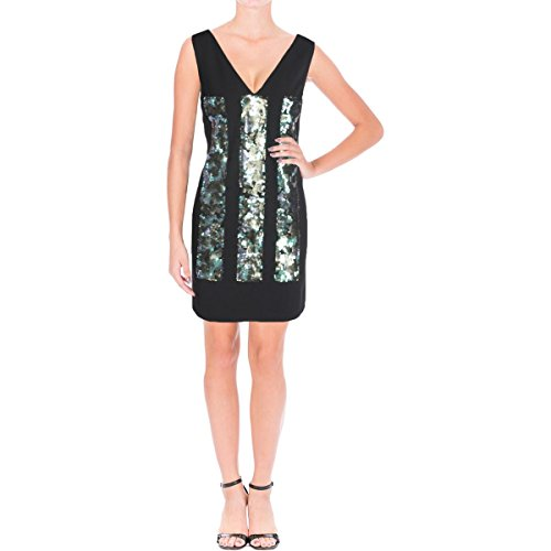 Vera Wang Women's Sleeveless V Neck Cocktail Dress with Sequins Embellishment, Black/Green 4