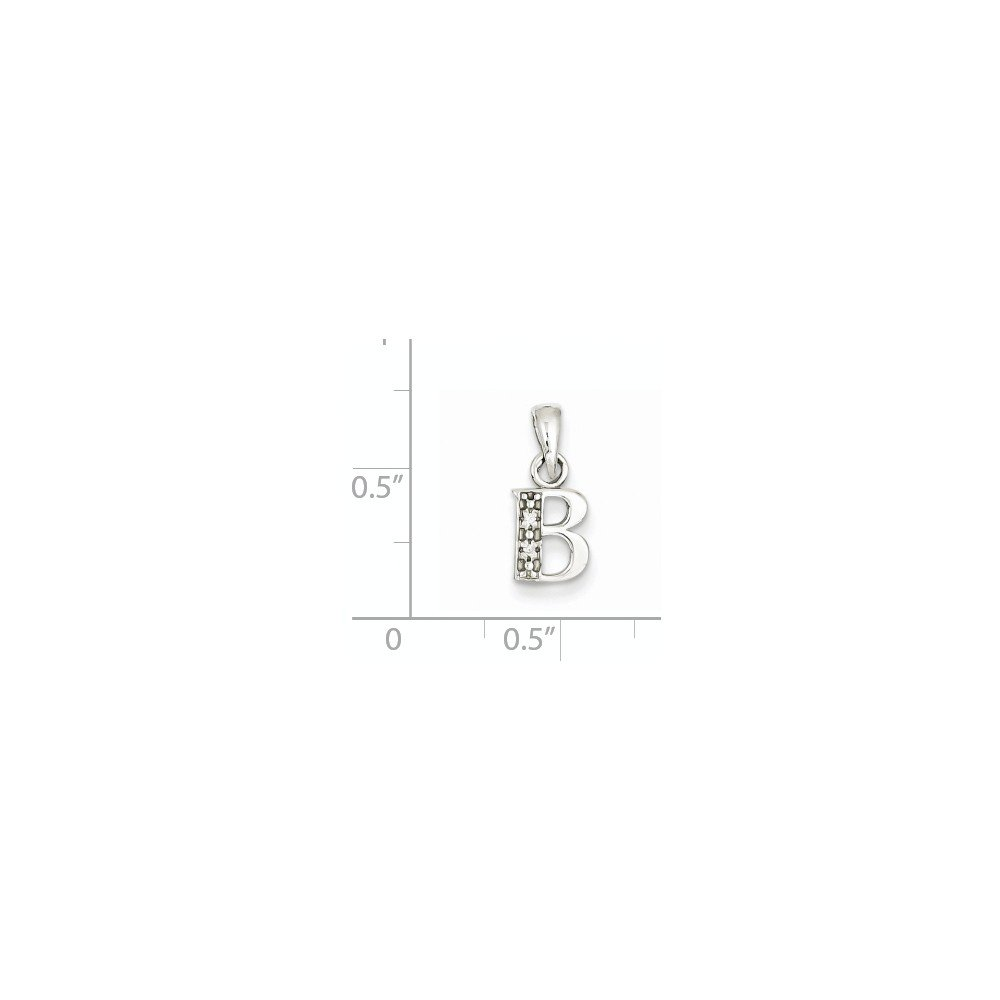 Solid 14k White Gold Polished .01ct Diamond Initial B Pendant (8mm x 15mm)