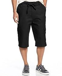 Sean John Linen-Blend Cargo Shorts, Black, 32