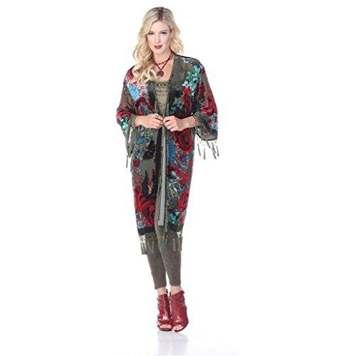Aris A Women 100% Silk Velvet Vintage Roses Hand Beads Burnout Kimono Duster