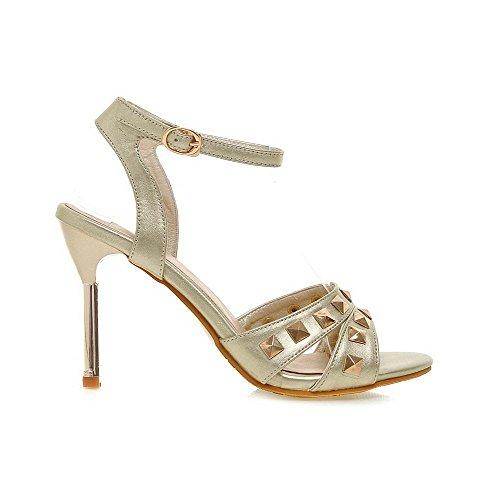 AmoonyFashion Womens Buckle High-Heels PU Solid Open Toe Heeled-Sandals Gold HK1JzlHjC