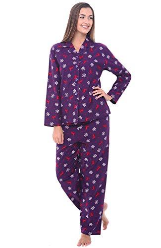 Medium Purple with Reindeer Womens Flannel Pajamas