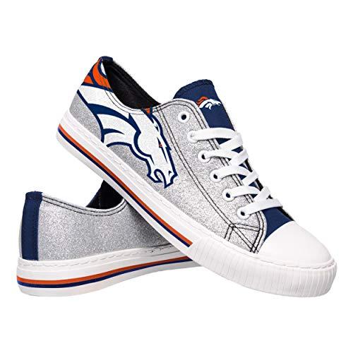 FOCO NFL Denver Broncos Womens Ladies Glitter Low Top Canvas Sneaker Shoesladies Glitter Low Top Canvas Sneaker Shoes, Team Color, 7/Medium Denver Broncos Womens Top