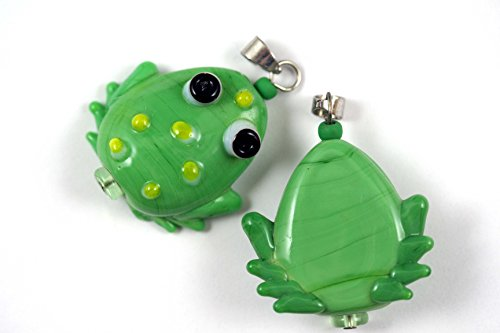 Tropical Design Green Frog Lampwork Glass Bead-Pendant Size (Pack of 2)